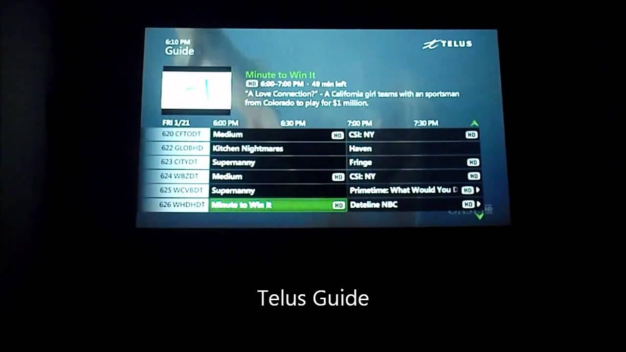 telus fiber optic channel guide